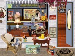 Antique Toy shop and black cat