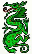 green dragon painted with polka dots