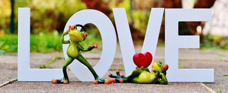 "romantic decoration with a frog on the background of the word ""love"""