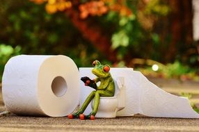 ceramic frog with toilet paper