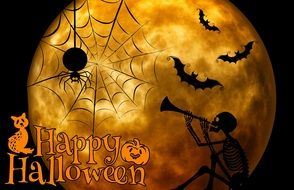 halloween greeting card with skeleton