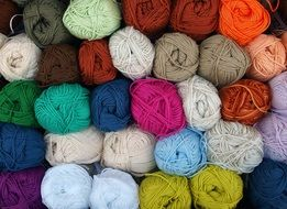 A lot of wool for knitting