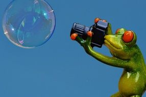 green funny Frog Photographer Soap Bubble