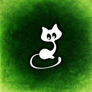 painted white cat on a green background