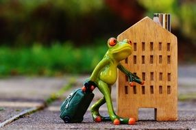traveling frog with luggage
