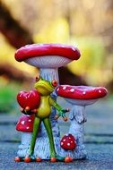 ceramic Frog with Heart and mushroom