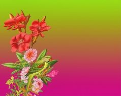 gradient wallpaper with flowers