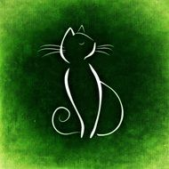 white silhouette of a cat on the green background