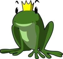 painted green frog with a golden crown
