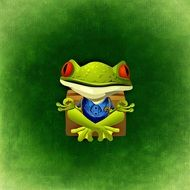 drawing green frog on a green background