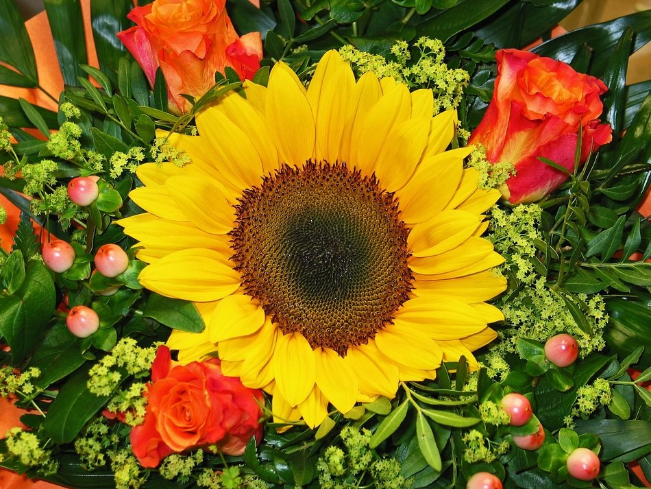 decorative bouquet with sunflower