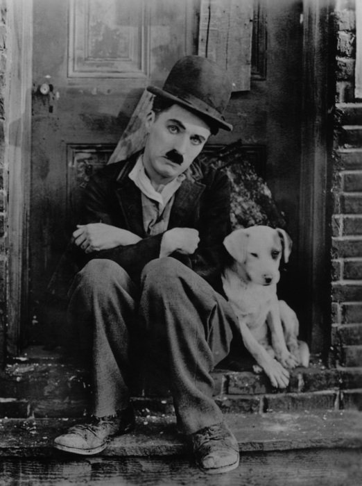 portrait of Charlie Chaplin with a dog