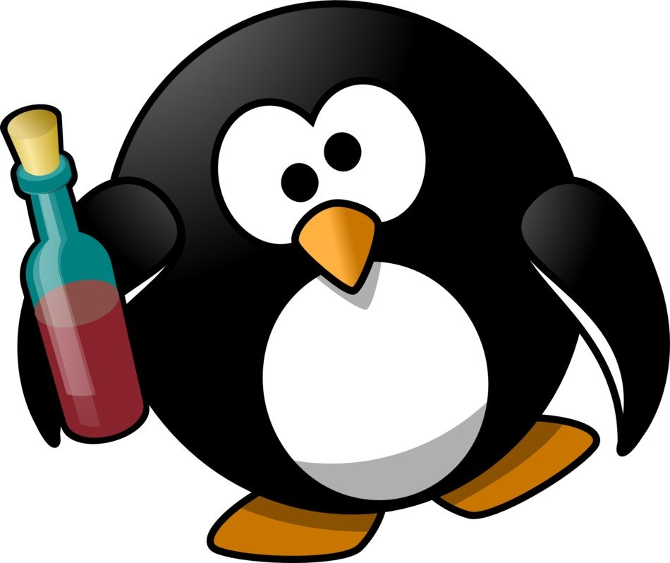 Penguin with alcohol clipart