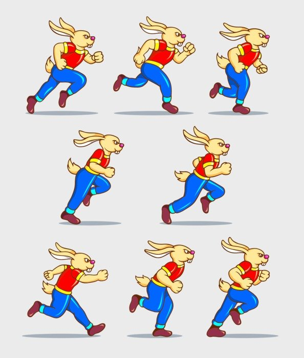 drawn running cartoon hares
