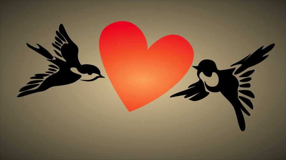 Clip Art of birds and heart