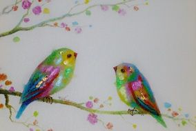 tender beautiful painting of two birds on a branch