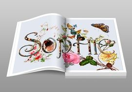 "colorful open book ""sophie"""
