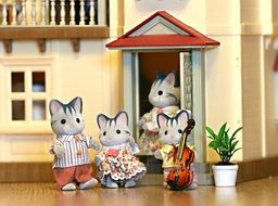 toy family of cats on the background of a toy house