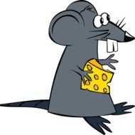 Mouse with the cheese as a clipart