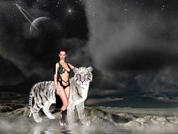 girl with white tiger computer graphics