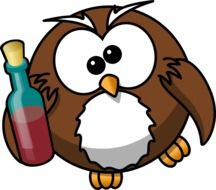 drunk fat Owl with Alcohol bottle, illustration