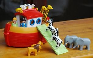 ark of noah and animals, plastic toys