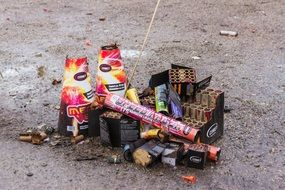 packages from Used Fireworks on ground