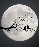 Cats Moon Silhouette drawing