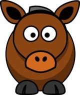 Clipart of brown cartoon Horse
