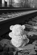 teddy bear on the railway