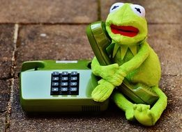 soft kermit with phone