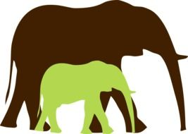 Brown and green elephants clipart
