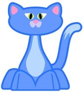 drawing of a blue cat on a white background