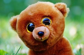 stuffed teddy bear with glitter eyes
