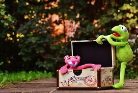 green frog near the suitcase with a pink panther