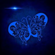 painted blue tracery butterfly