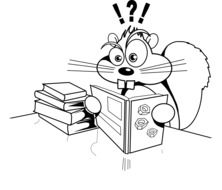 Squirrel Reading Books drawing