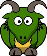 painted green cartoon goat