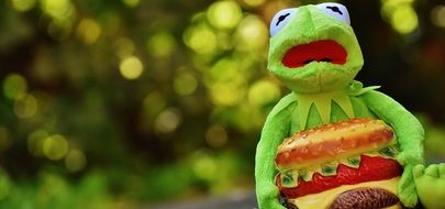 soft kermit frog with cheeseburger