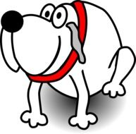 cartoon dog with a red collar