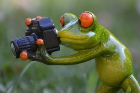 ceramic photographer frog