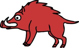 Red boar image at white background
