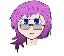 Girl with glasses and purple hair clipart