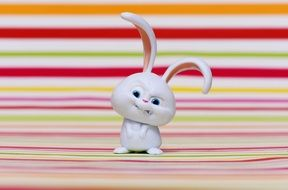 evil bunny on a background of colored bands