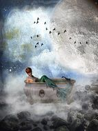 fantasy drawing of a mermaid in the bath on the background of a large moon