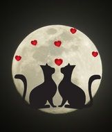 silhouette of cats in love on the moon