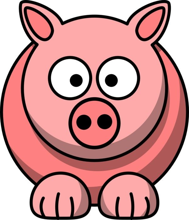 comic pink pig as a graphic image