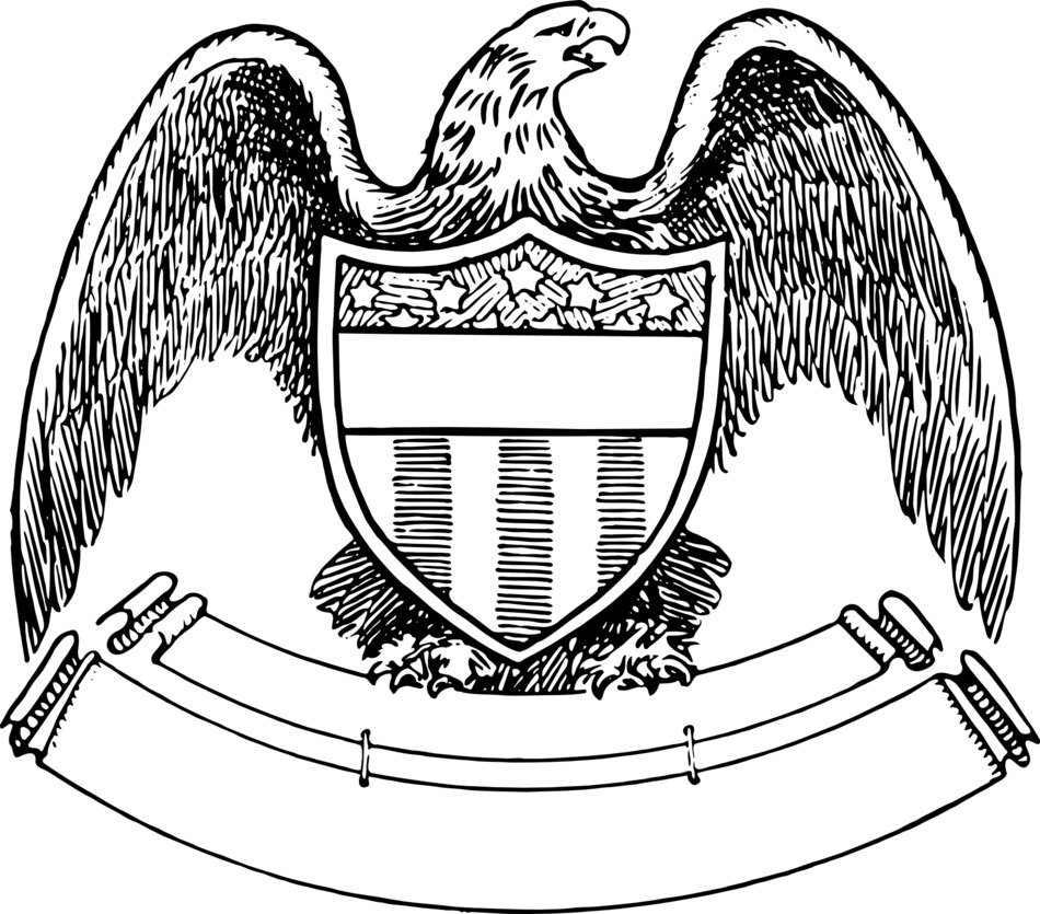 american Eagle with Shield and empty Banner, drawing