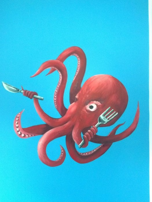Funny cartoon Octopus with fork and knife