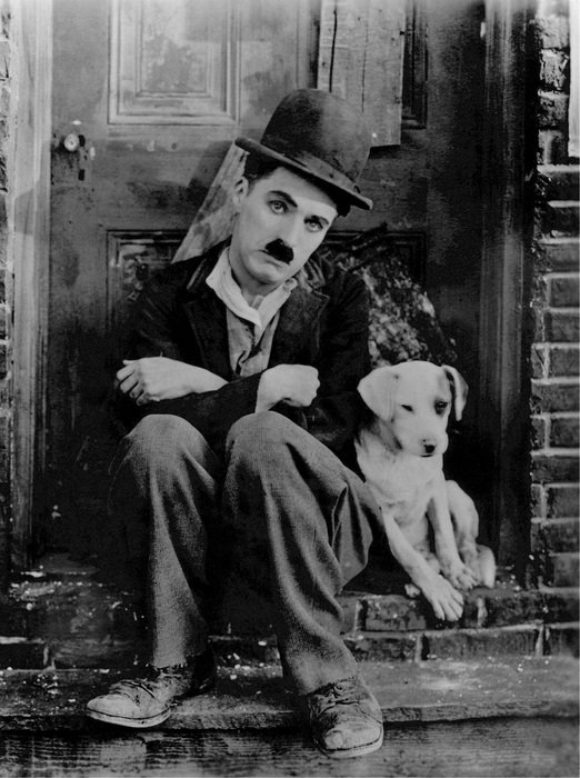 photo Charlie Chaplin with a white puppy